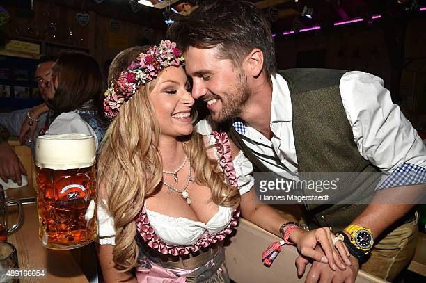 Thore Schoelermann and his girlfriend Jana Kilka attend the Fisch Baeda during the Oktoberfest 2015 Opening at Theresienwiese on September 19 2015 in...