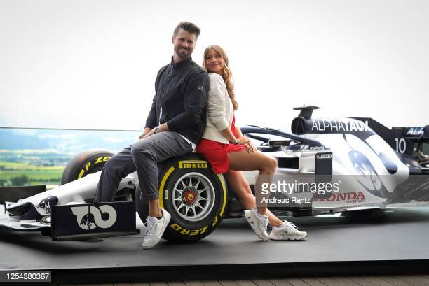 Thore Schoelermann and his wife Jana Schoelermann attend the AlphaTauri Collection Preview Spring/Summer 2021 at Hotel Schönberghof on July 04 2020...