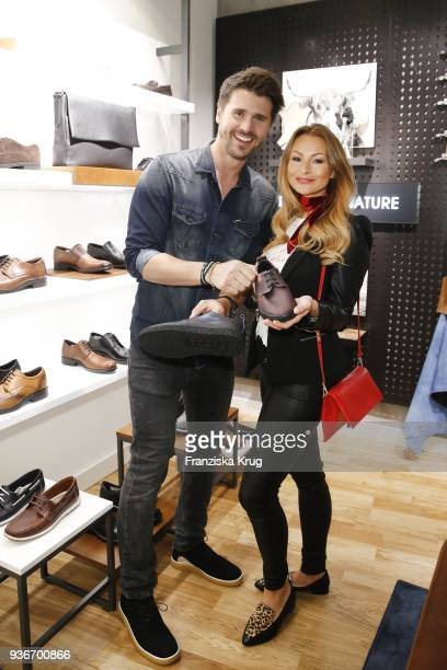 Thore Schoelermann and Jana Julie Kilka wearing ECCO shoes during the ECCO Flagship store opening and collection launch on March 22 2018 in...
