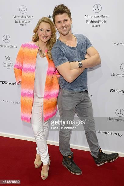 Thore Schoelermann and Jane Julie Kilka attend the Marc Cain show during the MercedesBenz Fashion Week Berlin Autumn/Winter 2015/16 at Brandenburg...