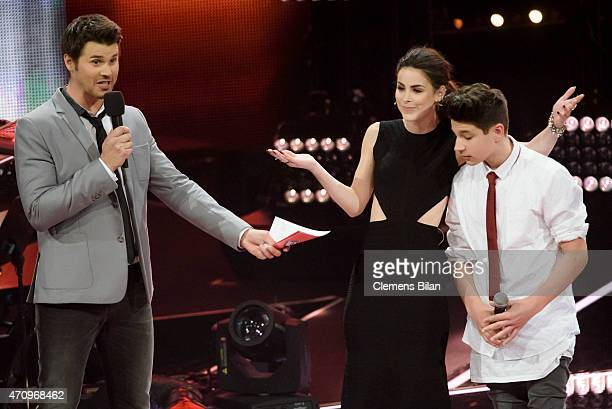 Thore Schoelermann Lena MeyerLandrut and NoahLevi attend the 'The Voice Kids' Finals on April 24 2015 in Berlin Germany