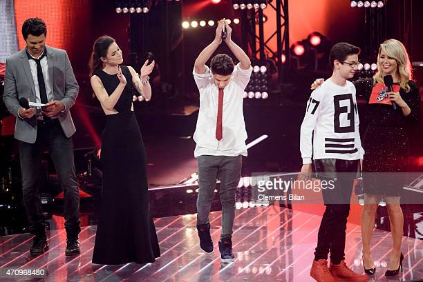 Thore Schoelermann Lena MeyerLandrut NoahLevi Samuel and Chantal Janzen attend the 'The Voice Kids' Finals on April 24 2015 in Berlin Germany