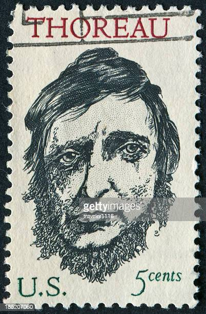 thoreau stamp - famous authors stock pictures, royalty-free photos & images