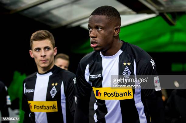 Thorgan Hazard and Denis Zakaria of Borussia Moenchengladbach prior the Bundesliga match between Borussia Moenchengladbach and FC Schalke 04 at...