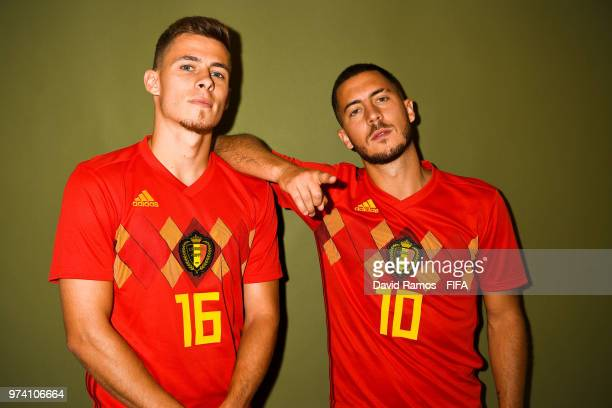 Thorgan Hazard and his brother Eden Hazard of Belgium pose during the official FIFA World Cup 2018 portrait session at the Moscow Country Club on...