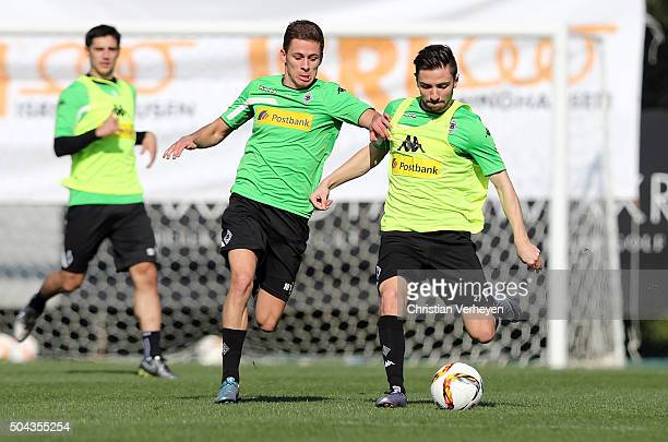 Thorgan Hazard and Julian Korb battle for the ball during a training session at day 4 of Borussia Moenchengladbach training camp on January 10 2016...