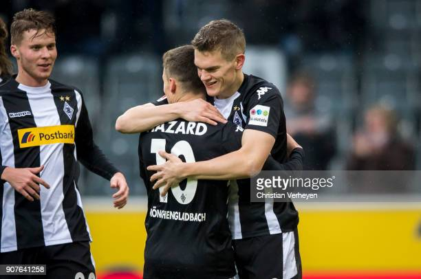 Thorgan Hazard and Matthias Ginter of Borussia Moenchengladbach celebrate the first goal during the Bundesliga match between Borussia...