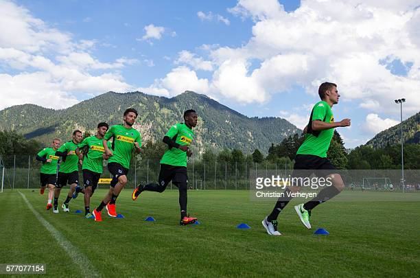 Thorgan Hazard Ibrahima Traore Julian Korb Mahmoud Dahoud Tony Jantschke and Oscar Wendt run during a training session on day 3 of Borussia...