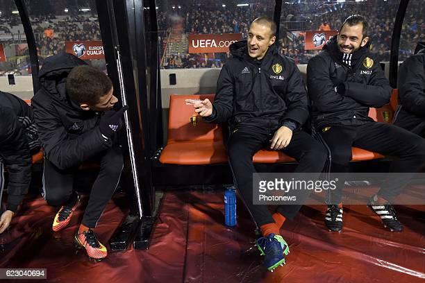 Thorgan Hazard midfielder of Belgium, Timmy Simons midfielder of Belgium, Steven Defour midfielder of Belgium during the World Cup Qualifier Group H...