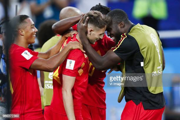 Thorgan Hazard of Belgium Adnan Januzaj of Belgium Romelu Lukaku of Belgium during the 2018 FIFA World Cup Russia group G match between England and...