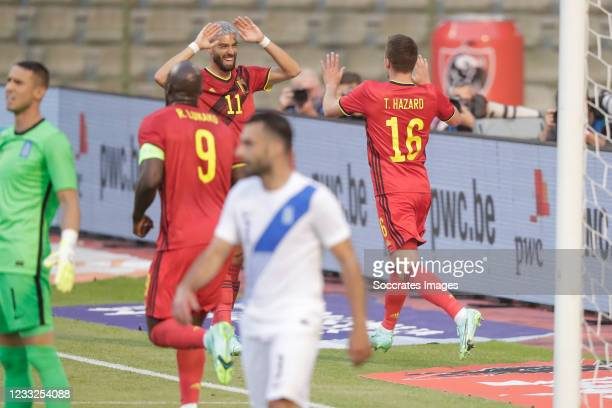 Thorgan Hazard of Belgium celebrate his goal 1-0, Yannick Carrasco of Belgium during the International Friendly match between Belgium v Greece on...