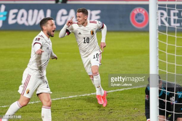 Thorgan Hazard of Belgium celebrates after scoring his team's 2nd goal during the FIFA World Cup 2022 Qatar qualifying match between Belgium and...