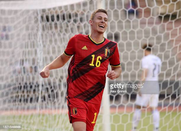 Thorgan Hazard of Belgium celebrates after scoring their side's first goal during the international friendly match between Belgium and Greece at King...
