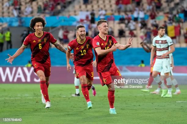 Thorgan Hazard of Belgium celebrates after scoring their side's first goal during the UEFA Euro 2020 Championship Round of 16 match between Belgium...