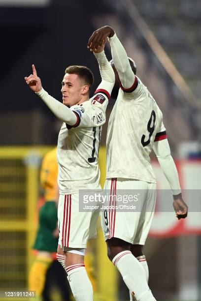 Thorgan Hazard of Belgium celebrates scoring their 2nd goal during the FIFA World Cup 2022 Qatar qualifying match between Belgium and Wales on March...