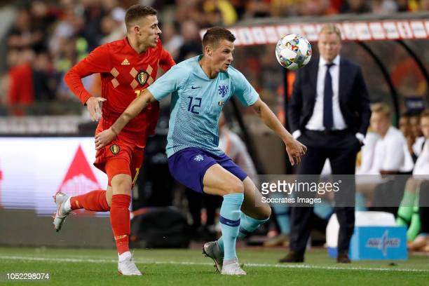 Thorgan Hazard of Belgium Hans Hateboer of Holland during the International Friendly match between Belgium v Holland on October 16 2018