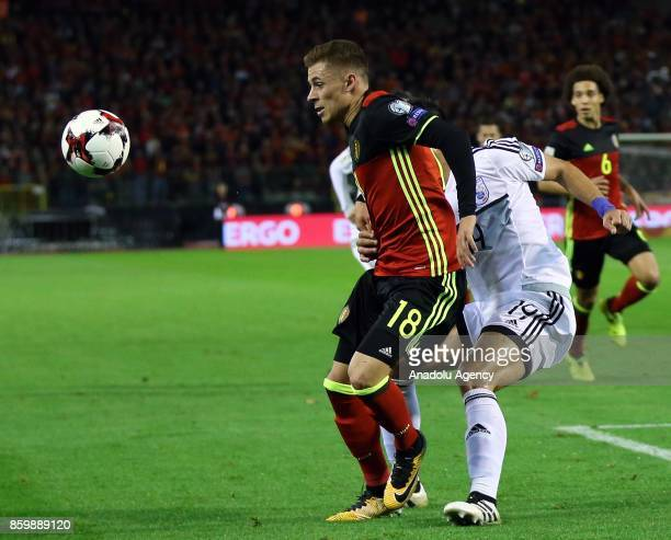 Thorgan Hazard of Belgium in action during the FIFA 2018 World Cup Qualifier soccer match between Belgium and Greek Cypriot national team at the King...