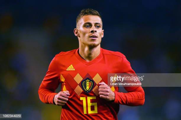 Thorgan Hazard of Belgium in action during the International Friendly match between Belgium and Netherlands at King Baudouin Stadium on October 16...