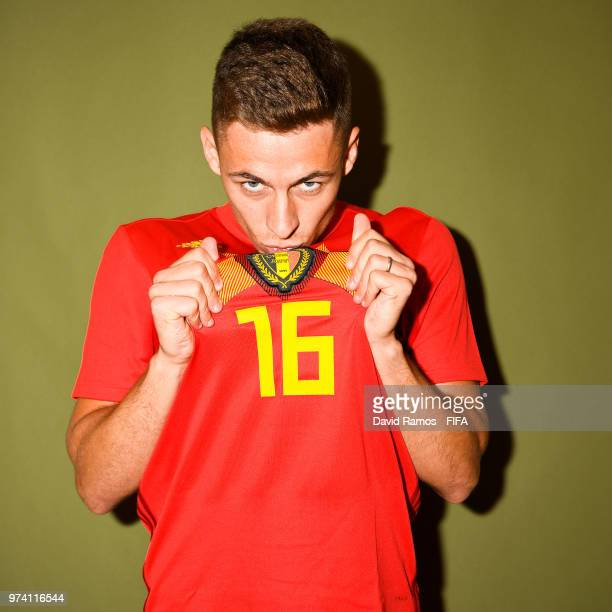 Thorgan Hazard of Belgium poses during the official FIFA World Cup 2018 portrait session at the Moscow Country Club on June 14 2018 in Moscow Russia