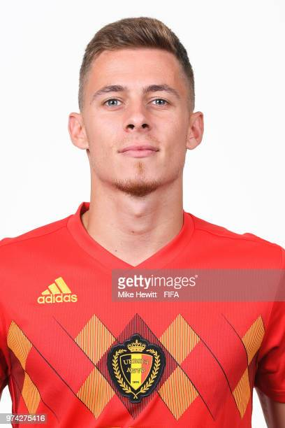 Thorgan Hazard of Belgium poses for a portrait during the official FIFA World Cup 2018 portrait session at the Moscow Country Club on June 14 2018 in...