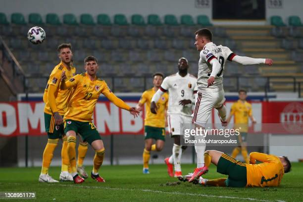 Thorgan Hazard of Belgium scores his sides second goal during the FIFA World Cup 2022 Qatar qualifying match between Belgium and Wales on March 24,...