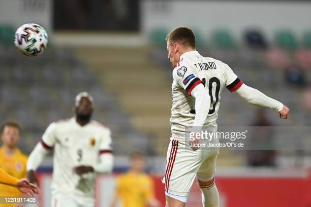 Thorgan Hazard of Belgium scores their 2nd goal during the FIFA World Cup 2022 Qatar qualifying match between Belgium and Wales on March 24, 2021 in...