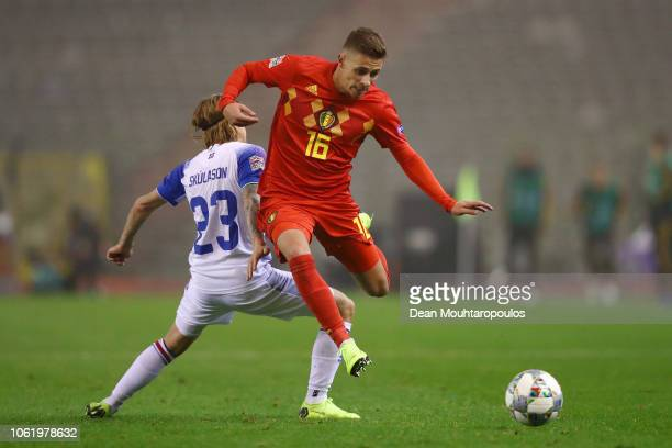 Thorgan Hazard of Belgium skips past the challenge of Ari Skulason of Iceland during the UEFA Nations League A group two match between Belgium and...