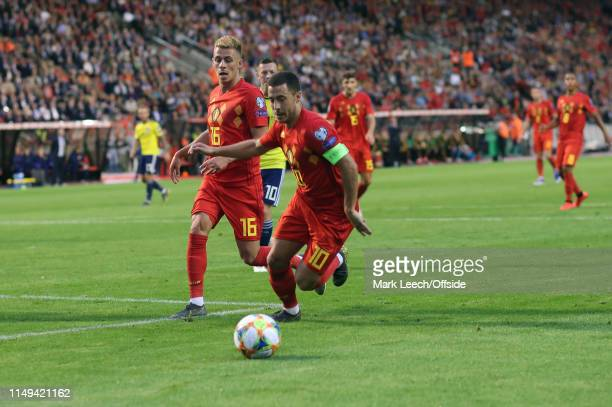 Thorgan Hazard of Belgium watches his brother Eden Hazard during the UEFA Euro 2020 qualifying match between Belgium and Scotland at King Baudouin...