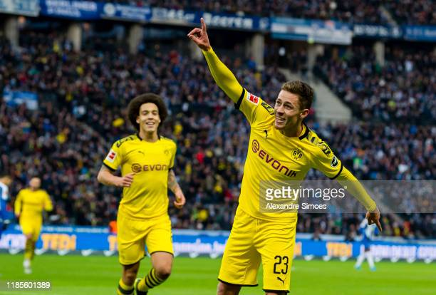 Thorgan Hazard of Borussia Dortmund celebrates after scoring the second goal of his team during the Bundesliga match between Hertha BSC and Borussia...