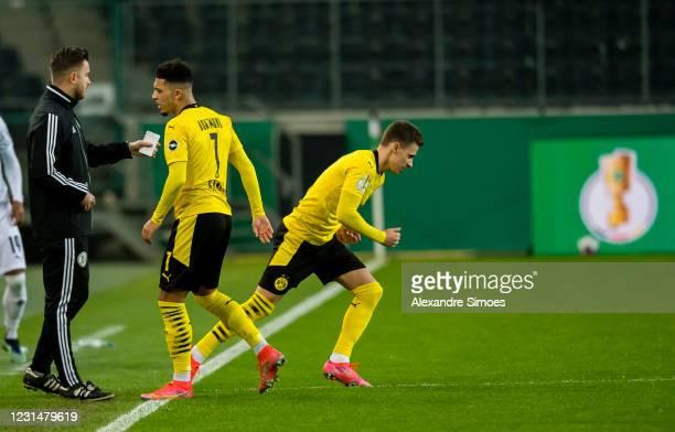 Thorgan Hazard of Borussia Dortmund enters the match during the DFB Cup quarter-final match between Borussia Mönchengladbach and Borussia Dortmund at...
