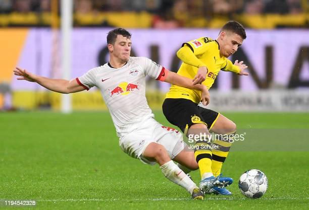 Thorgan Hazard of Borussia Dortmund is challenged by Diego Demme of RB Leipzig during the Bundesliga match between Borussia Dortmund and RB Leipzig...