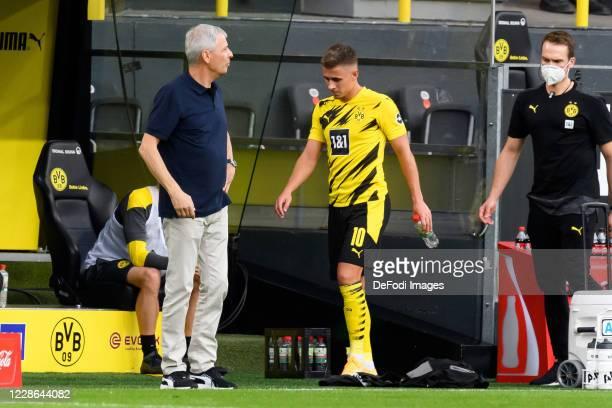 Thorgan Hazard of Borussia Dortmund is injured during the Bundesliga match between Borussia Dortmund and Borussia Moenchengladbach at Signal Iduna...