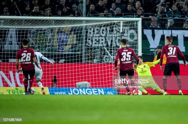 Thorgan Hazard of Borussia Moenchengladbach at the penalty during the Bundesliga match between Borussia Moenchengladbach and 1FC Nuernberg at...