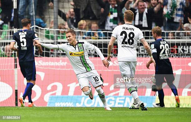 Thorgan Hazard of Borussia Moenchengladbach celebrates as he scores their first goal during the Bundesliga match between Borussia Moenchengladbach...