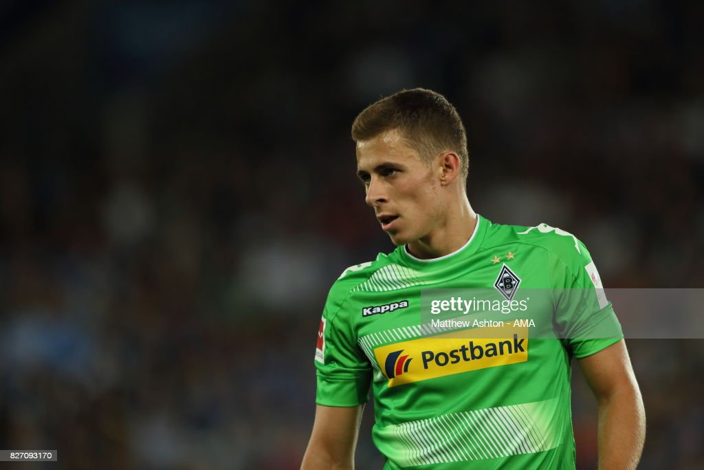 Thorgan Hazard of Borussia Moenchengladbach during the preseason friendly match between Leicester City and Borussia Moenchengladbach at The King Power Stadium on August 4, 2017 in Leicester, United Kingdom.