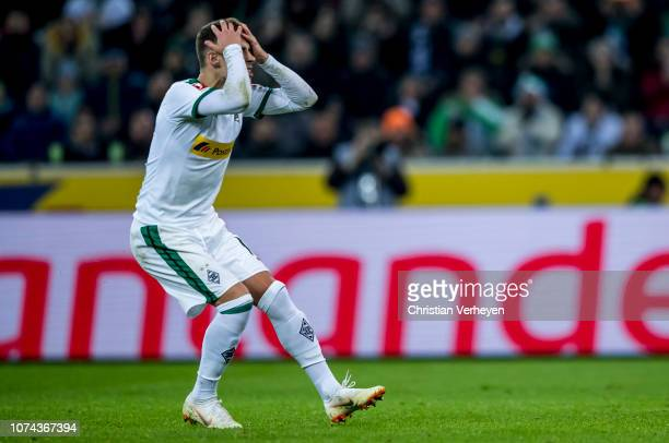 Thorgan Hazard of Borussia Moenchengladbach in action during the Bundesliga match between Borussia Moenchengladbach and 1FC Nuernberg at BorussiaPark...