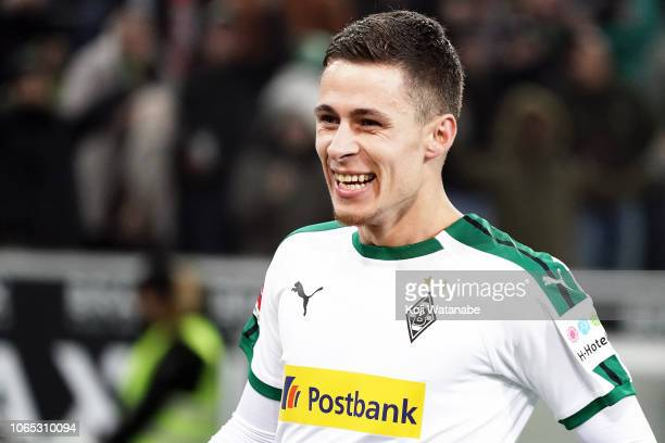 Thorgan Hazard of Borussia Monchengladbach celebrates during the Bundesliga match between Borussia Moenchengladbach and Hannover 96 at BorussiaPark...