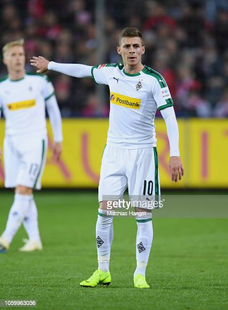 Thorgan Hazard of Borussia Monchengladbach gestures during the Bundesliga match between SportClub Freiburg and Borussia Moenchengladbach at...