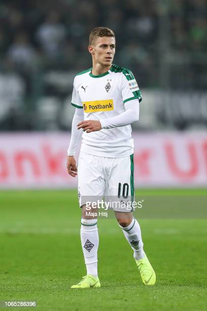 Thorgan Hazard of Borussia Monchengladbach looks on during the Bundesliga match between Borussia Moenchengladbach and Hannover 96 at BorussiaPark on...