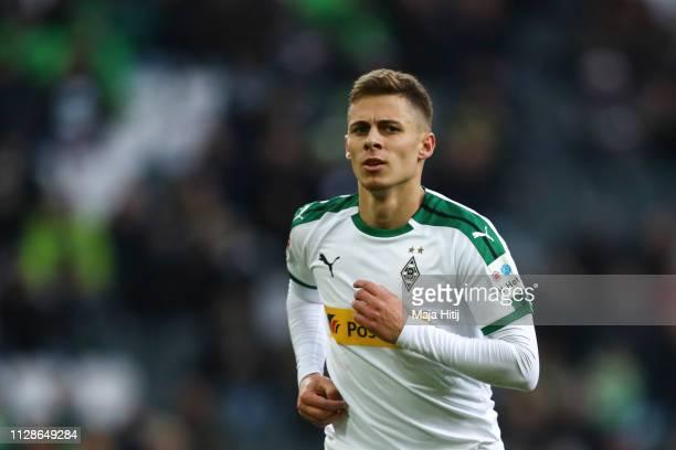 Thorgan Hazard of Borussia Monchengladbach looks on during the Bundesliga match between Borussia Moenchengladbach and Hertha BSC at BorussiaPark on...