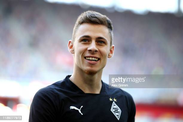 Thorgan Hazard of Borussia Monchengladbach looks on prior to the Bundesliga match between Fortuna Duesseldorf and Borussia Moenchengladbach at...