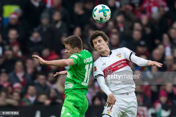 Thorgan Hazard of Moenchengladbach and Benjamin Pavard of Stuttgart battle for the ball during the Bundesliga match between VfB Stuttgart and...