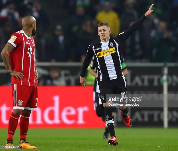 Thorgan Hazard of Moenchengladbach celebrates after he scored a penalty goal to make it 10 during the Bundesliga match between Borussia...