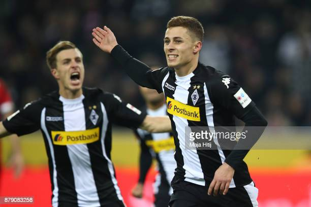 Thorgan Hazard of Moenchengladbach celebrates after he scored to make it 10 during the Bundesliga match between Borussia Moenchengladbach and FC...