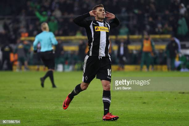 Thorgan Hazard of Moenchengladbach celebrates after he scored to make it 2:0 during the Bundesliga match between Borussia Moenchengladbach and FC...