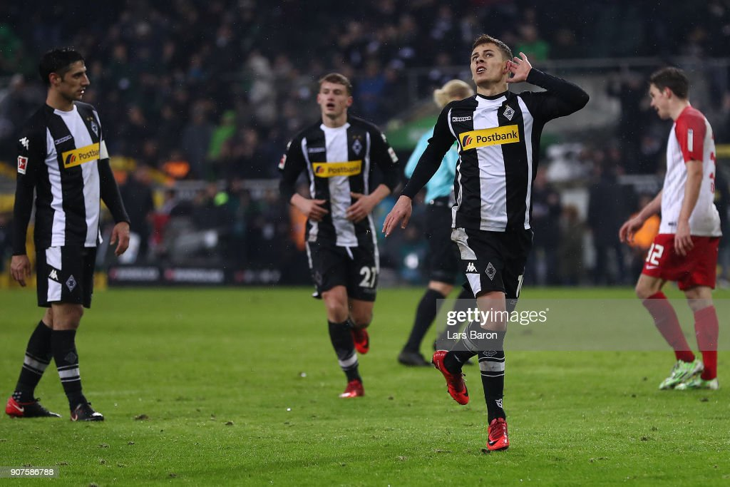 Thorgan Hazard of Moenchengladbach (l) celebrates after he scored to make it 2:0 during the Bundesliga match between Borussia Moenchengladbach and FC Augsburg at Borussia-Park on January 20, 2018 in Moenchengladbach, Germany. (Photo by Lars Baron/Bongarts/Getty Images)i