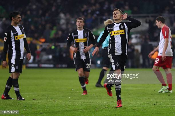 Thorgan Hazard of Moenchengladbach celebrates after he scored to make it 20 during the Bundesliga match between Borussia Moenchengladbach and FC...