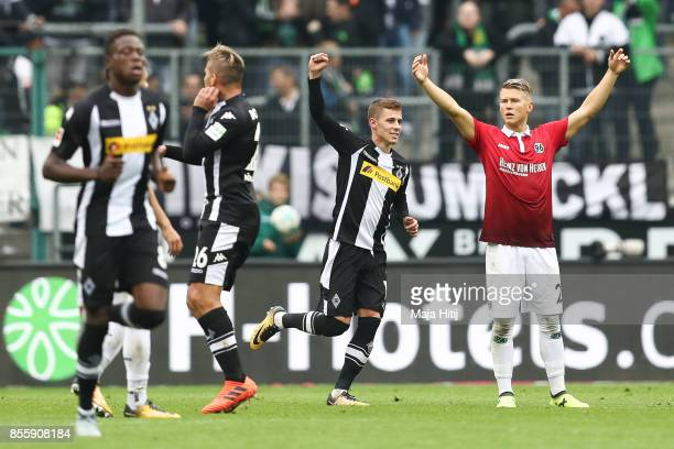 Thorgan Hazard of Moenchengladbach celebrates after scoring penalty shot to make it 21 during the Bundesliga match between Borussia Moenchengladbach...