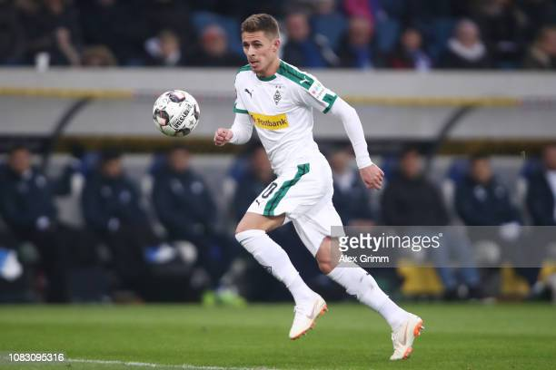 Thorgan Hazard of Moenchengladbach controls the ball during the Bundesliga match between TSG 1899 Hoffenheim and Borussia Moenchengladbach at Wirsol...