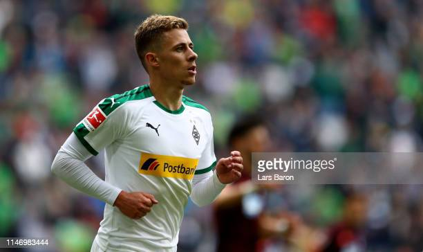 Thorgan Hazard of Moenchengladbach runs with the ball during the Bundesliga match between Borussia Moenchengladbach and TSG 1899 Hoffenheim at...